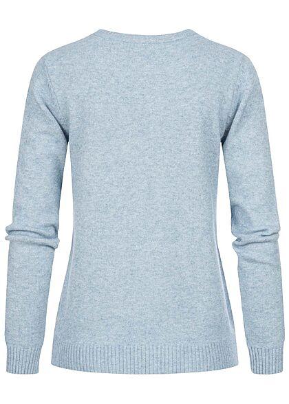 VILA Damen NOOS weicher Strickpullover Sweater Rippdetails ashley blau