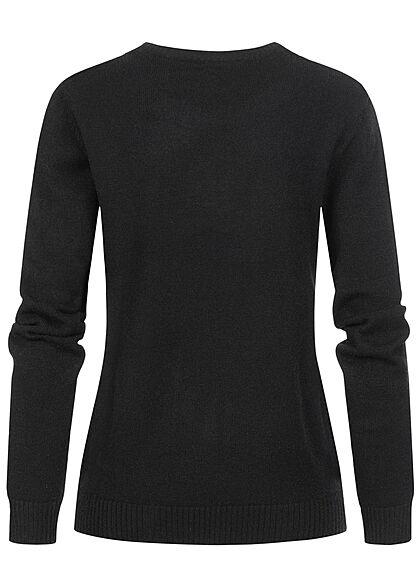VILA Damen NOOS weicher Strickpullover Sweater Rippdetails schwarz