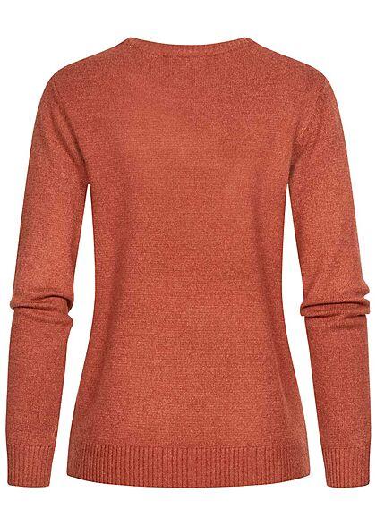 VILA Damen NOOS weicher Strickpullover Sweater Rippdetails burnt henna braun
