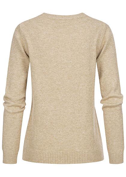 VILA Damen NOOS weicher Strickpullover Sweater Rippdetails natural beige mel