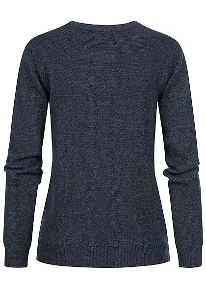 VILA Damen NOOS weicher Strickpullover Sweater Rippdetails total eclipse navy