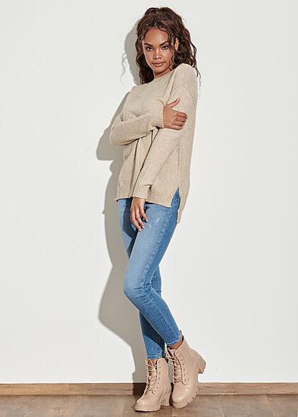 VILA Damen NOOS weicher Strickpullover Sweater Vokuhila natural beige melange