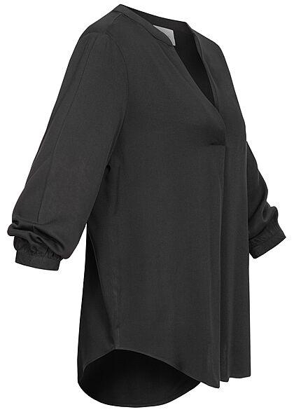 VILA Damen NOOS 3/4 Arm V-Neck Blusen Shirt Vokuhila schwarz