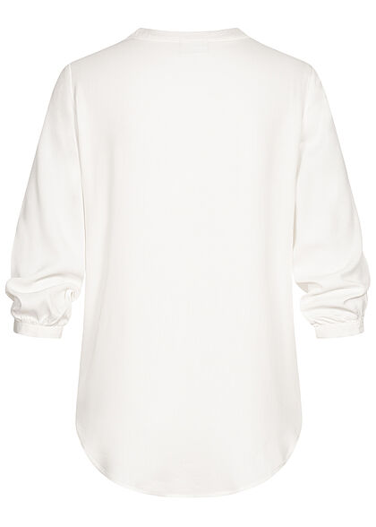 VILA Damen NOOS 3/4 Arm V-Neck Blusen Shirt Vokuhila snow weiss