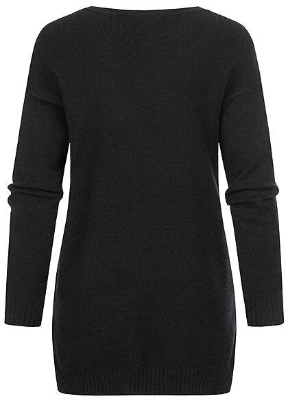VILA Damen NOOS weicher Strickpullover Sweater Vokuhila schwarz