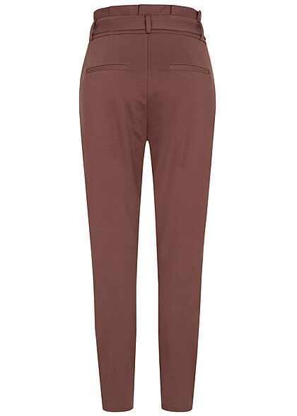 Vero Moda Damen NOOS Loose Fit Paperbag Hose inkl. Bindegürtel marron bordeaux
