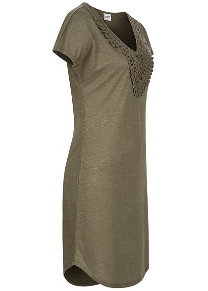 JDY by ONLY V-Neck Kleid mit Häkelbesatz vorne kalamata oliv grün