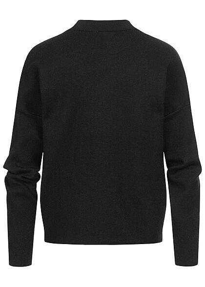 VILA Damen NOOS High-Neck Oversize Strickpullover Sweater schwarz