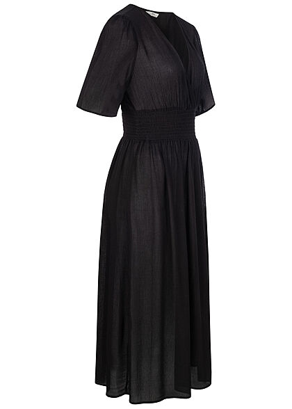 ONLY Damen V-Neck Midi Kleid Wickeloptik Gummibund schwarz