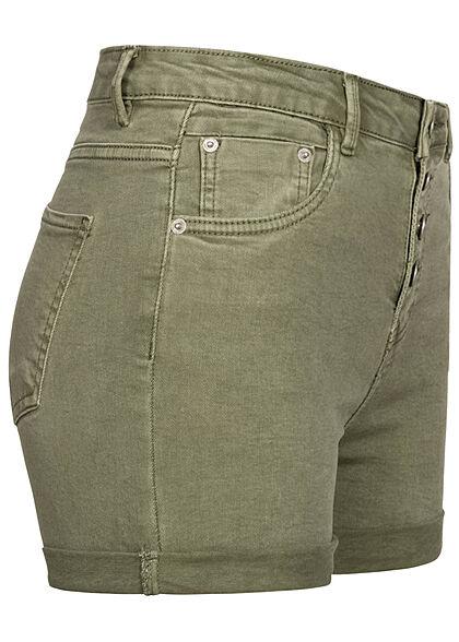 Hailys Damen High-Waist Jeans Shorts 5-Pockets Knopfleiste khaki denim