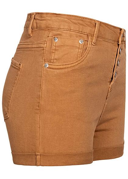 Hailys Damen High-Waist Jeans Shorts 5-Pockets Knopfleiste hazel braun