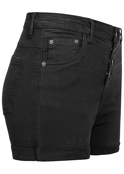 Hailys Damen High-Waist Jeans Shorts 5-Pockets Knopfleiste schwarz