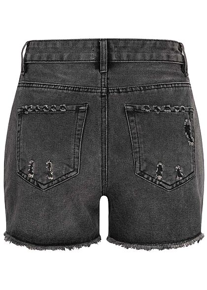 Hailys Damen High-Waist Jeans Shorts 5-Pockets Destroy Look offener Saum dunkel grau