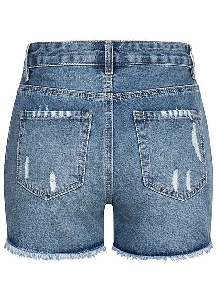 Hailys Damen High-Waist Jeans Shorts 5-Pockets Destroy Look offener Saum medium blau