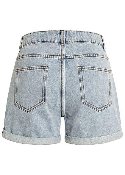 Hailys Damen kurze Mom-Fit Jeans Shorts Destroyed Look 5-Pockets hell blau denim
