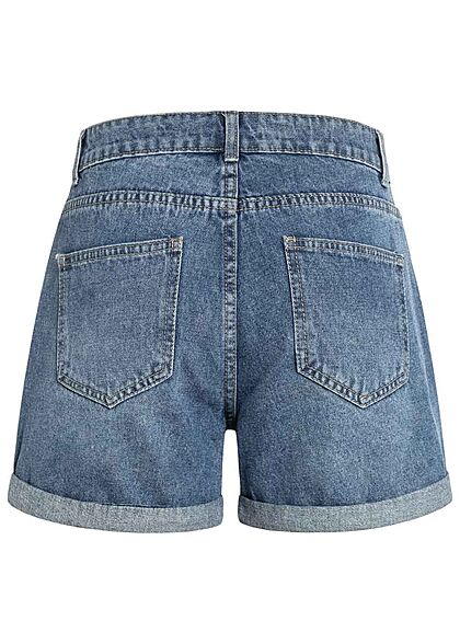 Hailys Damen kurze Mom-Fit Jeans Shorts Destroyed Look 5-Pockets medium blau denim