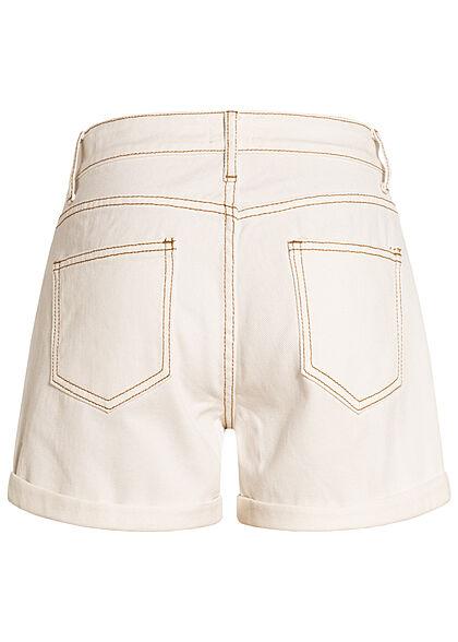 Hailys Damen kurze Mom-Fit Jeans Shorts Destroyed Look 5-Pockets off weiss denim