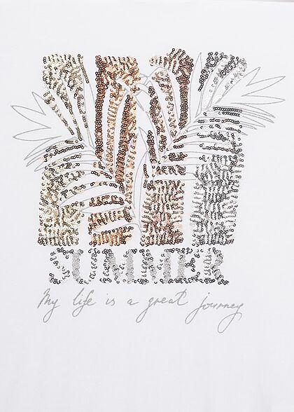 Hailys Damen T-Shirt mit Summer Pailletten Print Muster weiss