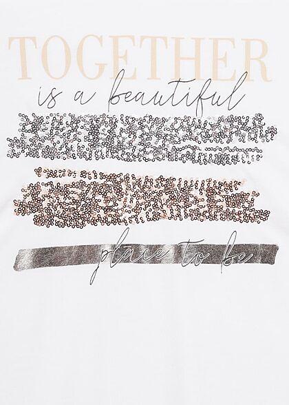 Hailys Damen T-Shirt mit Togehter Pailletten Print Muster weiss