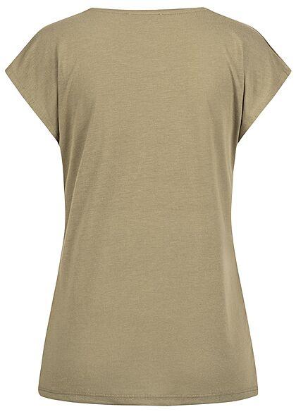 Hailys Damen T-Shirt mit Glitzer Federn Print khaki