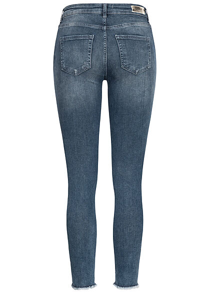 ONLY Damen NOOS Skinny Jeans Hose Fransen Destroy Look special blau grau denim