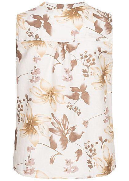 Zabaione Damen V-Neck Blusen Top Knopfleiste Blumen Muster off weiss braun