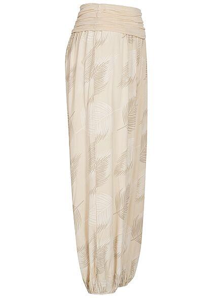 Hailys Damen weite Viskose Harem Stoffhose mit Federn Print beige braun