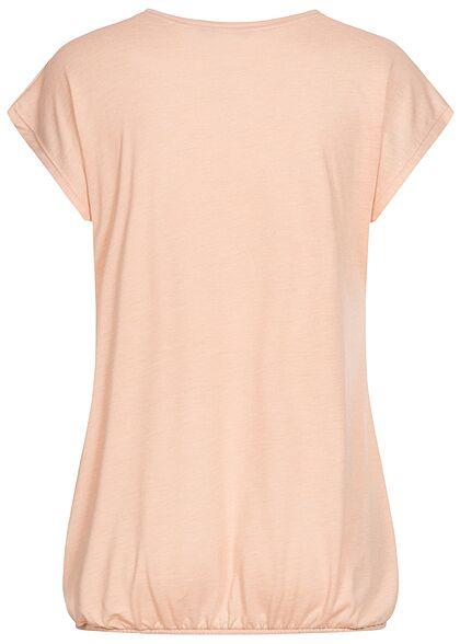 Zabaione Damen T-Shirt Paradise Pailletten Print mit Gummizug am Saum rosa
