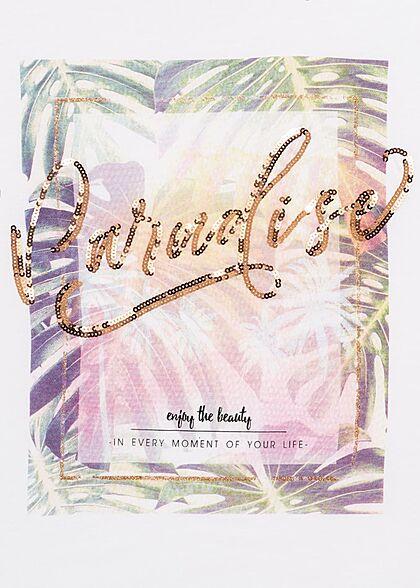 Zabaione Damen T-Shirt Paradise Pailletten Print mit Gummizug am Saum weiss