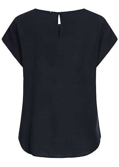 Hailys Damen Basic Blusen Shirt mit Knopf-Verschluss unicolor navy blau