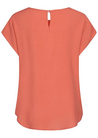 Hailys Damen Basic Blusen Shirt mit Knopf-Verschluss unicolor coral orange rot