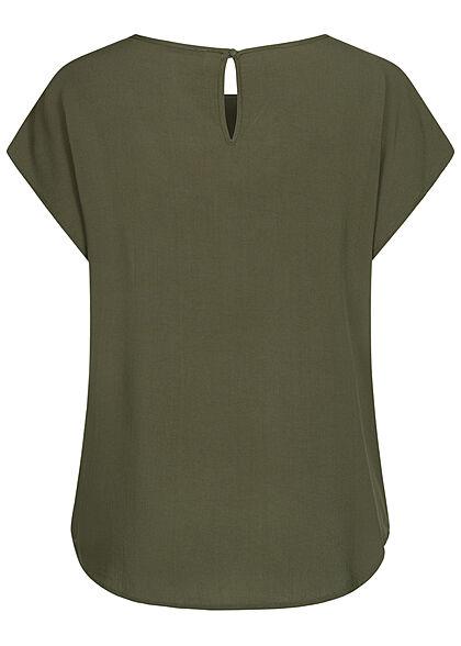 Hailys Damen Basic Blusen Shirt mit Knopf-Verschluss unicolor khaki grün