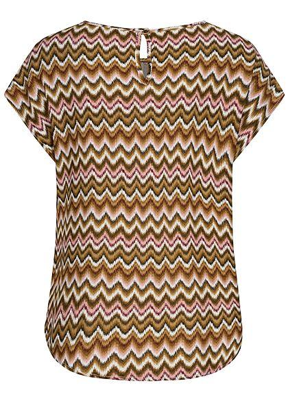 Hailys Damen Basic Blusen Shirt mit Knopf-Verschluss Zick Zack Print multicolor