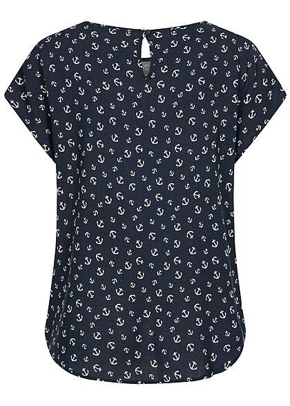 Hailys Damen Basic Blusen Shirt mit Knopf-Verschluss Anker Print navy blau weiss