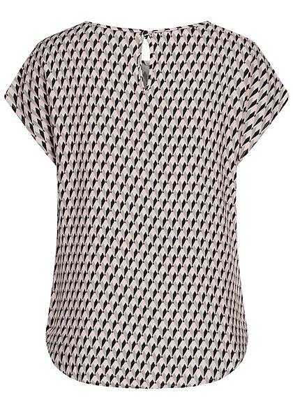 Hailys Damen Basic Blusen Shirt mit Knopf-Verschluss AOP Print multicolor