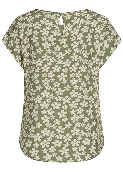Hailys Damen Basic Blusen Shirt mit Knopf-Verschluss Blumen Print hedge grün beige
