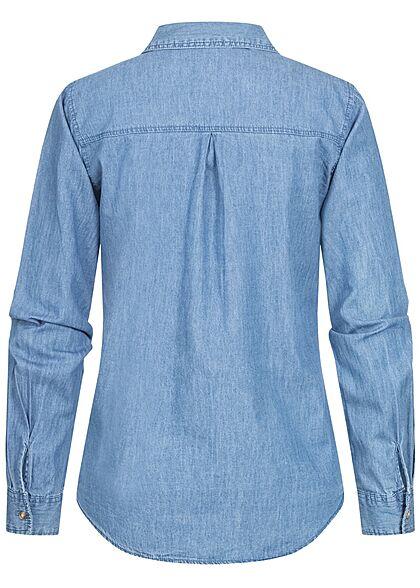 Hailys Damen Langarm Jeans Bluse mit 2 Brusttaschen & Knopfleiste blau denim