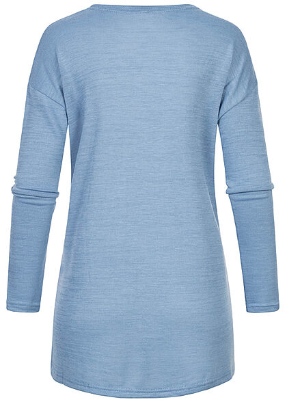 Hailys Damen Basic Cardigan 2-Pockets offener Schnitt blau