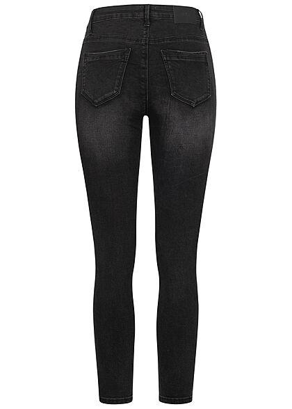 Hailys Damen High-Waist Skinny Jeans Hose 5-Pockets schwarz