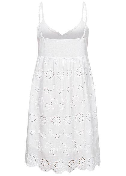 Hailys Damen V-Neck Mini Sangallo Kleid Lochmuster Stickerei weiss