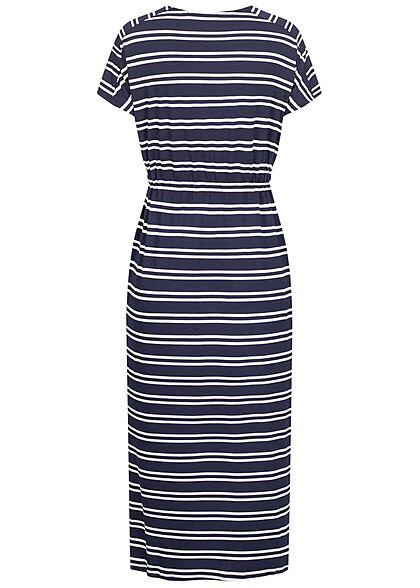 Hailys Damen Maxi Kleid Tunnelzug Streifen Muster navy blau weiss