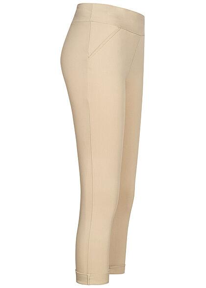 Hailys Damen Leggings breiter Bund Mid-Waist beige