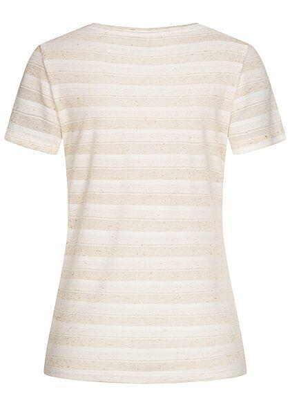 Hailys Damen V-Neck T-Shirt Streifen Muster beige weiss
