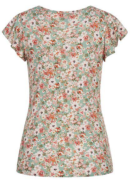 Hailys Damen T-Shirt Frill Ärmel Blumen Muster soft grün