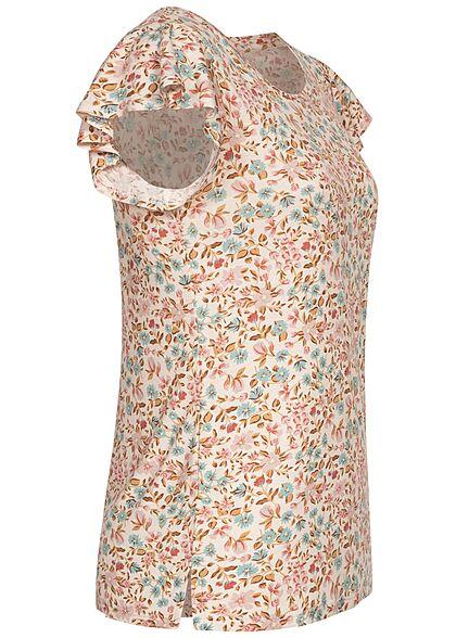 Hailys Damen T-Shirt Frill Ärmel Blumen Muster off weiss rosa