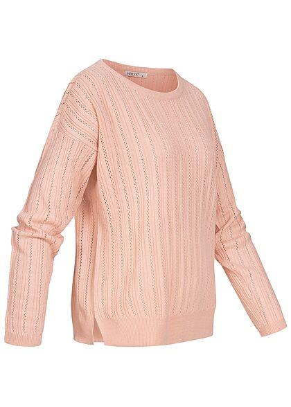 Hailys Damen U-Boot Sweater Pullover Lochmuster Streifen rosa