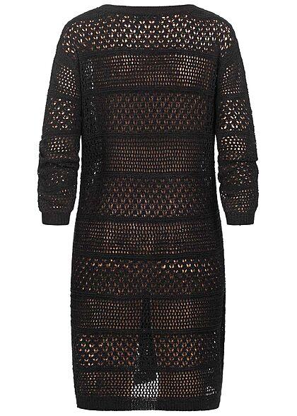 Hailys Damen Longform Cardigan Strickjacke Lochmuster schwarz