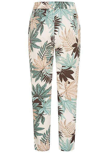 Hailys Damen Viskose Stoffhose Gummibund Tropical Print 2-Pockets off weiss grün