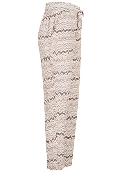 Hailys Damen Viskose Stoffhose Gummibund Zick Zack Muster 2-Pockets beige multicolor