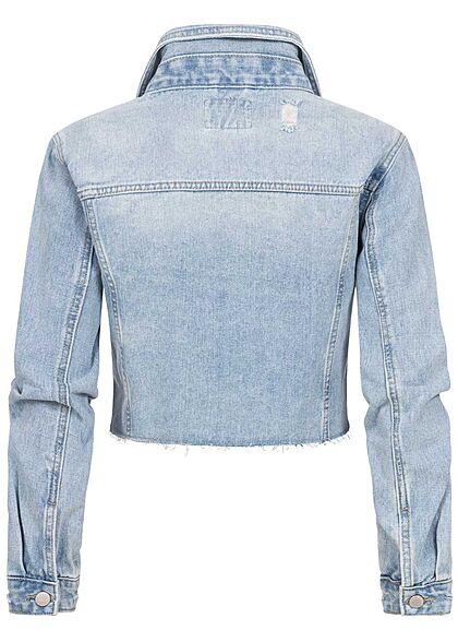 Hailys Damen kurze Cropped Jeans Jacke Destroy Optik 2 Brusttaschen hell blau denim